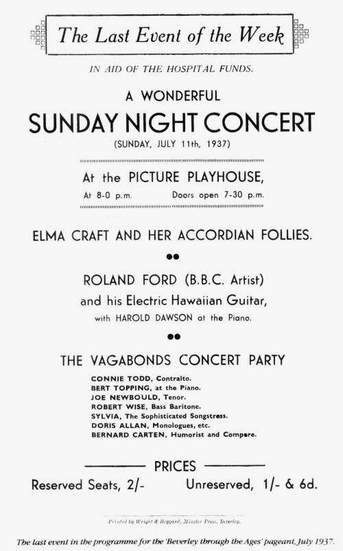 flyer advertisement for a Sunday Concert at the Playhouse Theatre