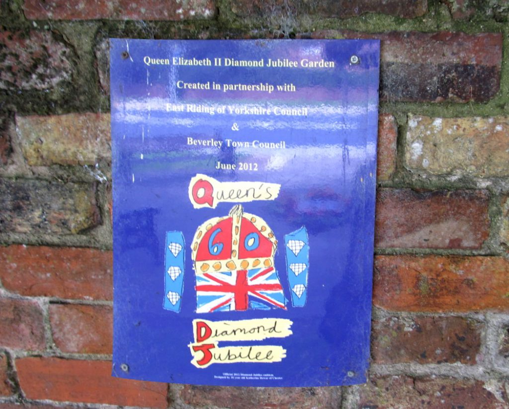 plaque for Beverley's Diamond Jubilee Garden