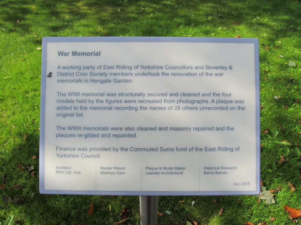 Beverley War Memorial Garden - plaque