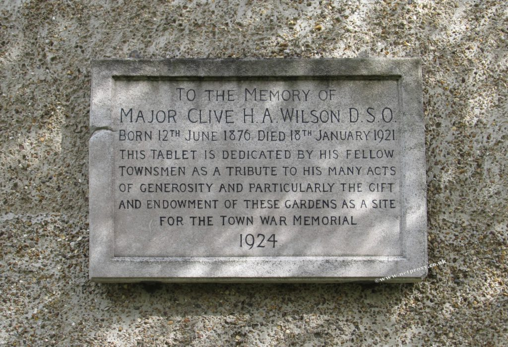 photo of Major Clive Wilson's Memorial Plaque at the western side of Beverley War Memorial Garden, on the side of No 3 Hengate. The inscription reads:- To the memory of Major Clive H.A. Wilson D.S.O. Born 12th June 1876 Died 18th January 1921 - This tablet is dedicated by his fellow townsmen as a tribute to his many acts of generosity and particularly the gift and endowment of these gardens as a site for the town war memorial - 1924
