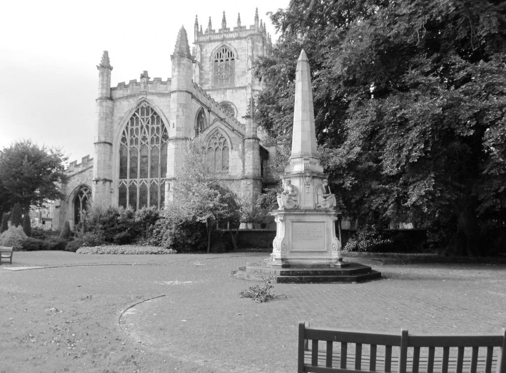 photo of World War 1 memorial next to St Mary's Church, Beverley. greyscale